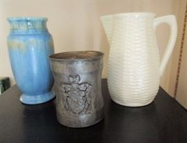 Art pottery vase (bottom rim chip), basketweave pitcher