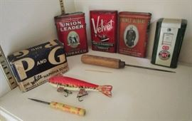 Vintage tobacco tins, advertising collectibles