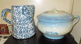 Stoneware pitcher, blue & white chamber pot