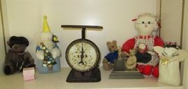 Vintage kitchen scale, misc. plush animals, etc