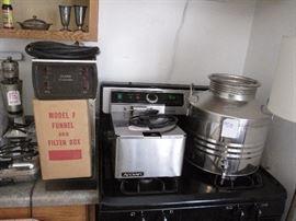 Burn coffee pot, Deep Fryer, olive oil container, 5 gallon pyrex, 1920's milkshake machine, Conrad Hilton Hotel items.