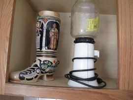 vintage poster coffee grinder, liquor boot made in germany