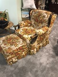 RETRO FLORAL ORANGE YELLOW CHAIR WITH OTTOMAN