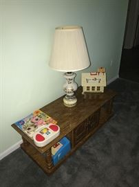 LONG WOODEN COFFEE TABLE WITH DOORS