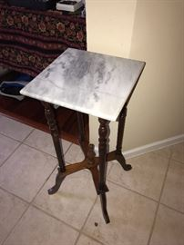 VINTAGE MARBLE TOP WOODEN TABLE
