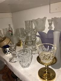 TONS OF BRAND NEW VINTAGE COLLECTIBLE PARTYLITE CANDLE HOLDERS, CANDLES, CRYSTAL JARS, VASES , SILK FLOWERS AND MORE