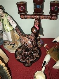 HAND-PAINTED UKRAINIAN CANDLE HOLDER, AND BIRD WITH STAND