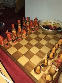 NESTING DOLL HAND-PAINTED CHESS SET