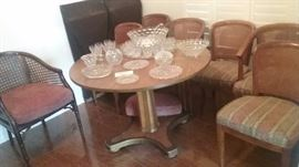 Barrel Chair with Wicker Back, Table with 6 chairs and 2 Leaves