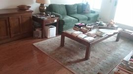 Henredon Coffee Table, Henredon Side Table, 5 X 8 Wool Rug with matching small rug, Nice Newer Green Sofa Sleeper