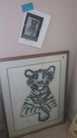 Rabindra Print Sudhir Tiger in Frame