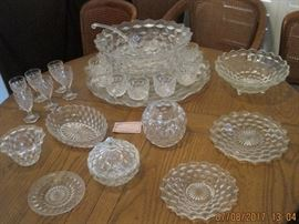 Fostoria American Pattern Glassware, Punchbowl, Vases, Serving pieces