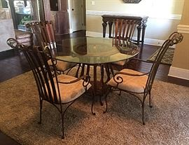 Iron and glass dining table and 4 chairs