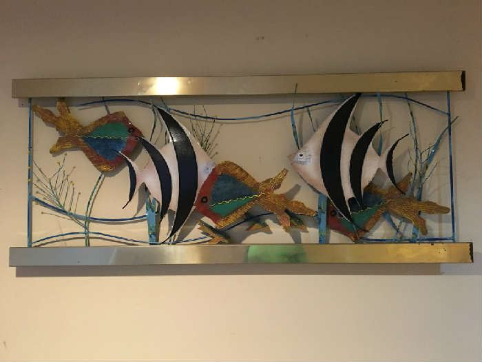 Curtis Jere Large Signed Modernist Brass Fish wall sculpture