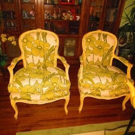 Pair Louis XV Arm Chairs