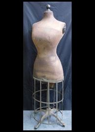 Antique life size dressmaker's mannequin with cast iron base (note the paw feet !)