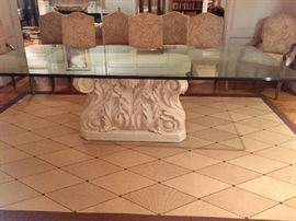 Gorgeous Beveled Glass Top Roman Stone Base Dining Table with 8 Upholstered Chairs