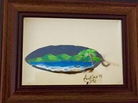 Oil on Macaw Feather by Artist Enid Arce of Puerto Rico