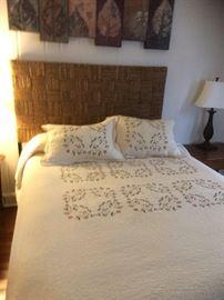 Wicker Queen Bed & Bedding