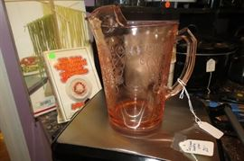 Florentine depression glass pink 8 1/4 in pitcher.  Rather rare.