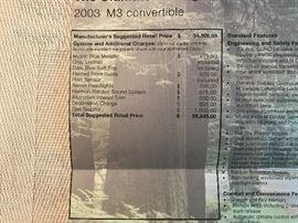 2003 BMW M3 Manual Transmission Convertible with 15K Original Miles - Immaculate & Pristine. $58,845 Original MSRP.