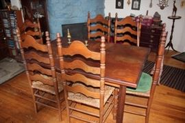 Dining Room Table with 6 Ladderback Chairs