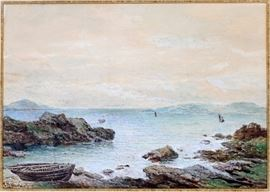 """2364 CHARLES WOOLNORTH (1815-1906), WATERCOLOR ON PAPER, H 10"""", W 14"""""""