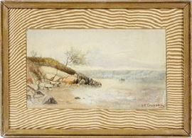 "2148 JASPER FRANCIS CROPSEY (AMERICAN, 1823-1900), WATERCOLOR, H 6 1/2"", W 11"", LANDSCAPE"