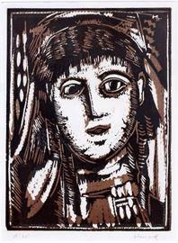 """2014 MAURICE DE VLAMINCK (FRENCH, 1876-1958), WOODCUT IN COLOR, 1922, H 13 1/4"""", W 10 1/8"""", """"TETE DE FEMME"""""""