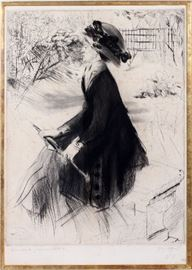 """2012 JACQUES VILLON (FRENCH, 1875-1963), DRYPOINT, H 20.5"""", W 16"""", """"LA BANC DE PIERRE AU JARDIN"""""""