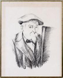 """2152 PAUL CEZANNE (FRENCH, 1839-1906), LITHOGRAPH, IMAGE: H 12.5"""", W 11"""", """"CEZANNE AU BERET DEVANT UN CHEVALET"""""""