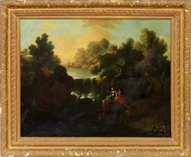 """2067 ITALIAN OIL ON CANVAS, C. 1800, H 25"""", W 31"""", LANDSCAPE WITH FIGURES"""