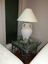 pair of these lamps, glass & metal tables
