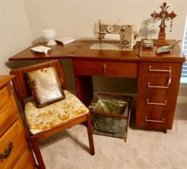 Vintage Sewing Machine & Cabinet, Chair & Misc