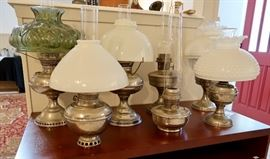 Metal Base Oil Lamps with Various Shades