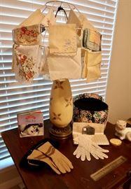 Vintage Lamp, Hankies, Gloves & Clutch Purses
