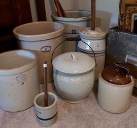 ALL SIZES - Vintage Crocks, Butter Churn & Jug