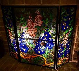 Tiffany Glass Fireplace Screen