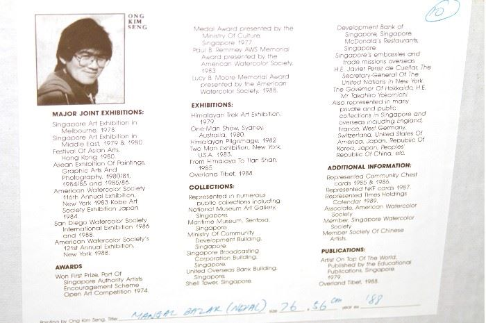 Ong Kim Seng Information from back of painting