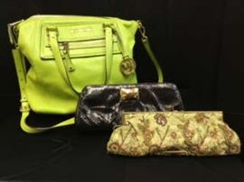 Michael Kors bag, and assorted clutches