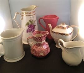 Antique and vintage pitchers.