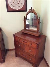 Small antique walnut chest of drawers and dresser stand swing mirror.