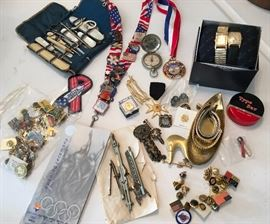Men's Items including watches and bands, pins including Salt Lake Olympic memorabilia and military items