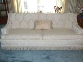 MCM FULL SIZE COMFY SOFA IN A SOFT IVORY AND BROCADE FABRIC. THIS WEEKEND 50% OFF