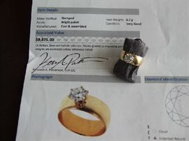 FABULOUS CERTIFIED 1.3 CARAT DIAMOND SOLITAIRE SET IN 14K GOLD. INCLUDES A RECENT LEGAL APPRAISAL ON THE REPLACEMENT VALUE OF THIS STUNING RING!! MUST SEE TO APPRECIATE....