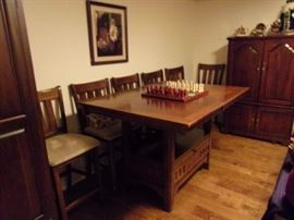 Pub height table and 6 chairs with built in leaves and storage below. Selling table and chairs seperately.