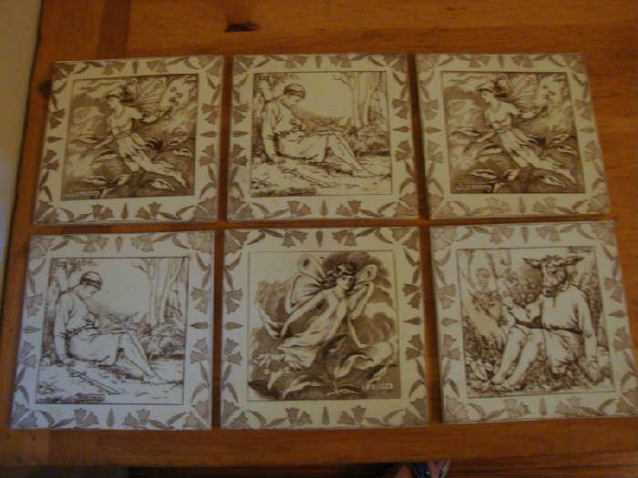 Set of 6 Wedgwood Tiles Mid Summers Night Dream