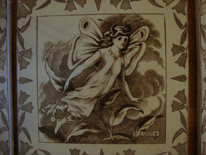 Close up of Wedgwood Tiles Mid Summers Night Dream