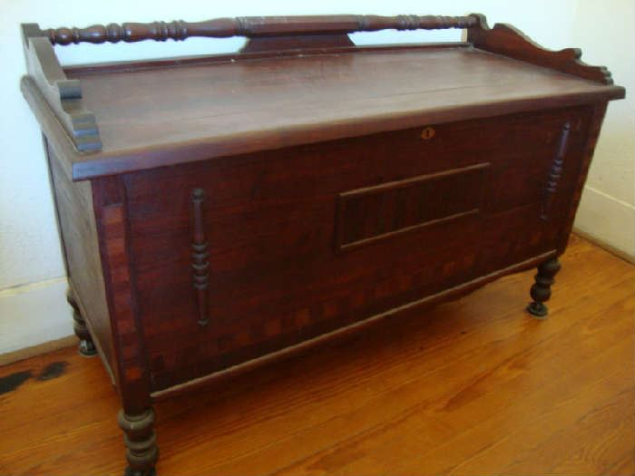 Beautiful Walnut Cedar Chest with key
