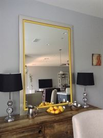 Nickel framed mirror with yellow trim - 6 ft x 48 in